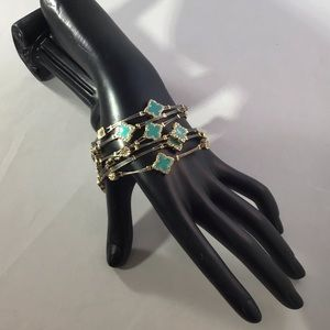 Quartrefoil Turquoise Six Bangles Designer Look